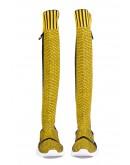 Sarı Siyah Geometrik Çizgili Triko Çorap Çizme